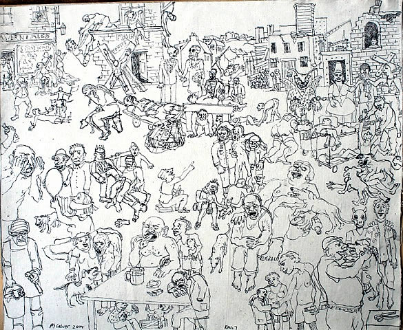Michael Calver RAG 7 2014  18x22 ins approx Ink drawing on bonded canvas and calico