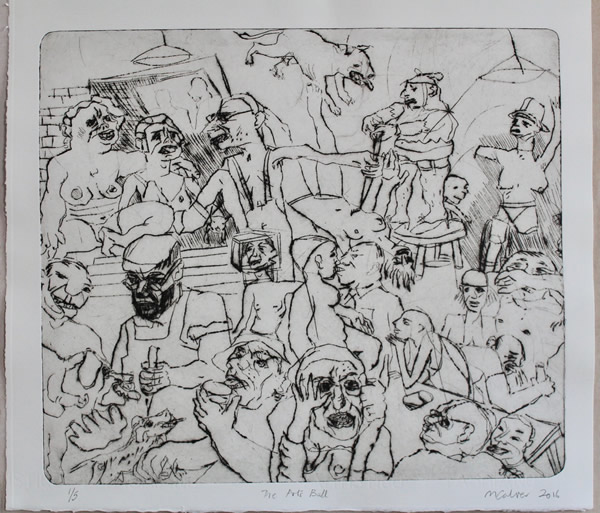 Michael Calver THE ARTS BALL 15x17ins Etching